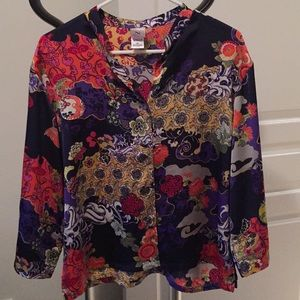 Natori blouse, vibrant colours